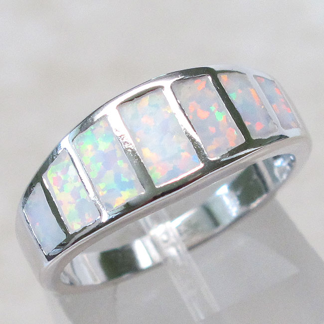 cool white opal 925 sterling silver ring size 5 10 ebay