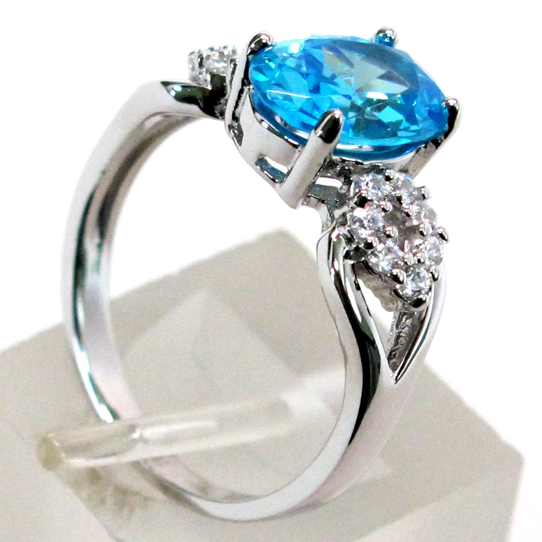 pretty 3 ct aquamarine oval cut 925 sterling silver ring