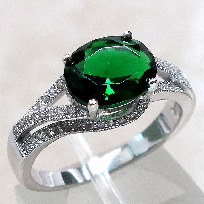 3 ct emerald 925 sterling silver ring size 5 10 ebay