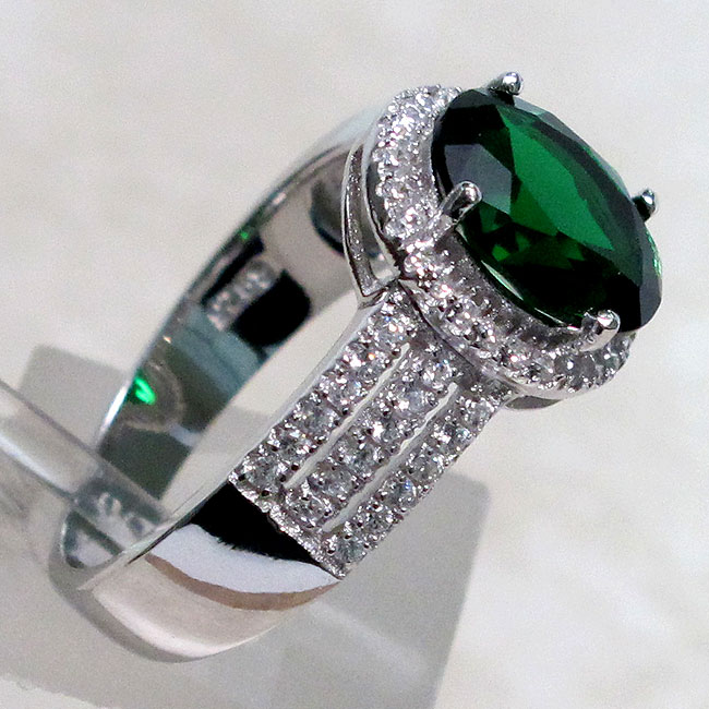 cool 3 ct emerald 925 sterling silver ring size 5 10 ebay