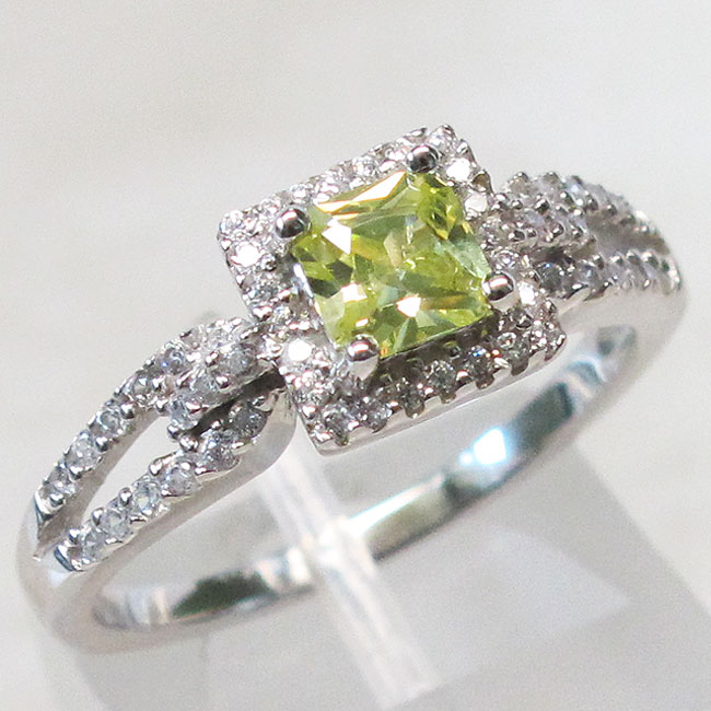 cool princess cut peridot 925 sterling silver ring size 5