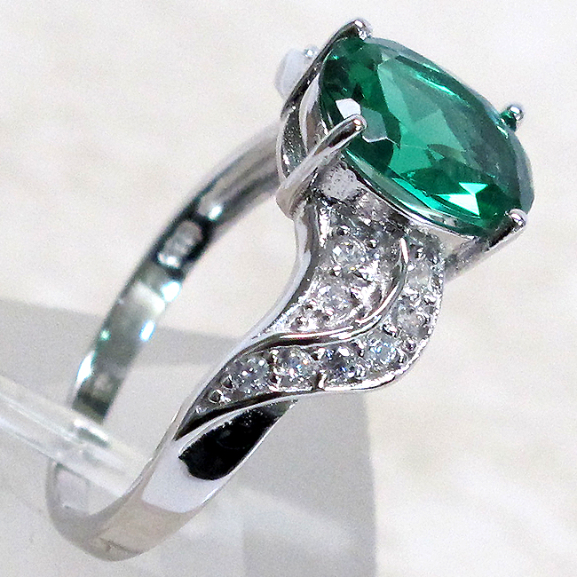 gorgeous 3 ct emerald 925 sterling silver ring size 5 10