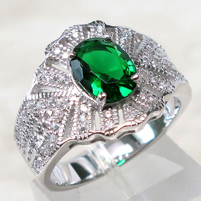 splendid 1 5 ct emerald 925 sterling silver ring size 5 10