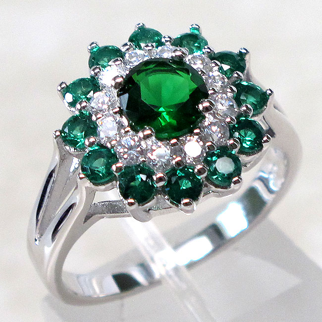UNIQUE 1 CT EMERALD 925 STERLING SILVER RING SIZE 5 10