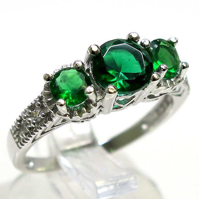 awesome 1 5 ct emerald 925 sterling silver filigree ring