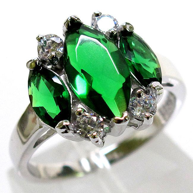 wonderful 3 ct three emerald 925 sterling silver