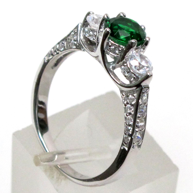 pretty three 1 ct emerald 925 sterling silver ring