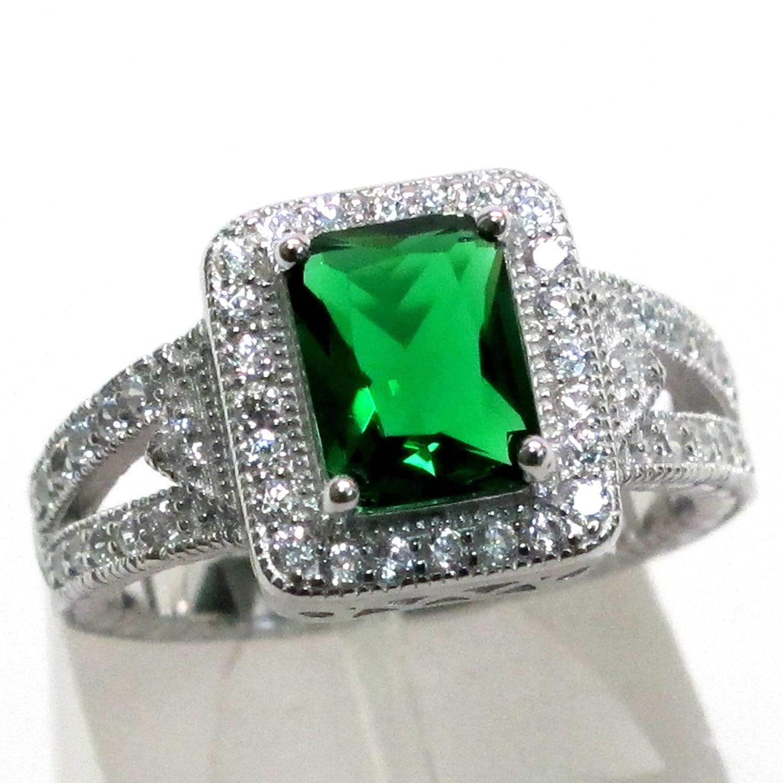precious 2 ct emerald 925 sterling silver ring size 5 10
