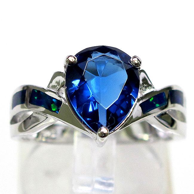Beautiful Tanzanite: BEAUTIFUL TANZANITE BLUE OPAL 925 STERLING SILVER RING