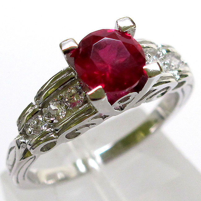 ADORABLE 1 CT RUBY 925 STERLING SILVER RING SIZE 5-10