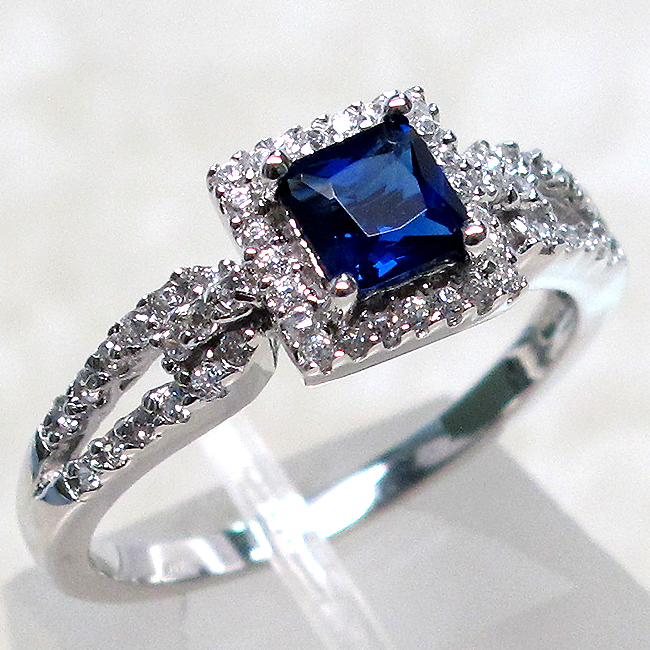 PRETTY 1 CT SAPPHIRE 925 STERLING SILVER MICRO PAVE RING SIZE 5-10