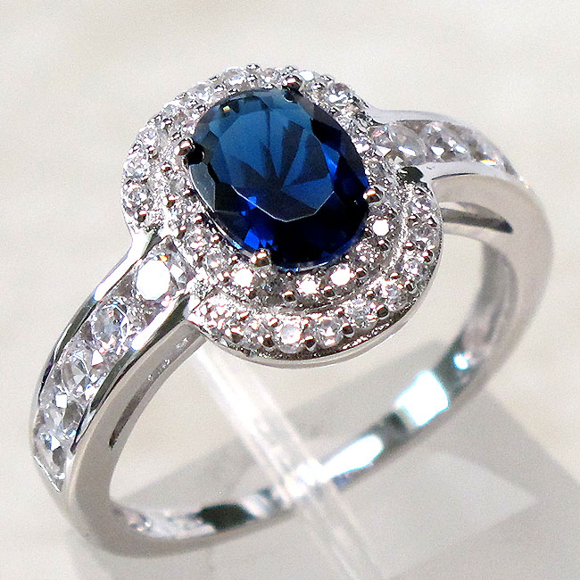 EXQUISITE 1.5 CT SAPPHIRE 925 STERLING SILVER RING SIZE 5-10