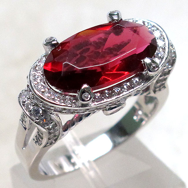 SENSATIONAL 2 CT RUBY 925 STERLING SILVER RING SIZE 5-10