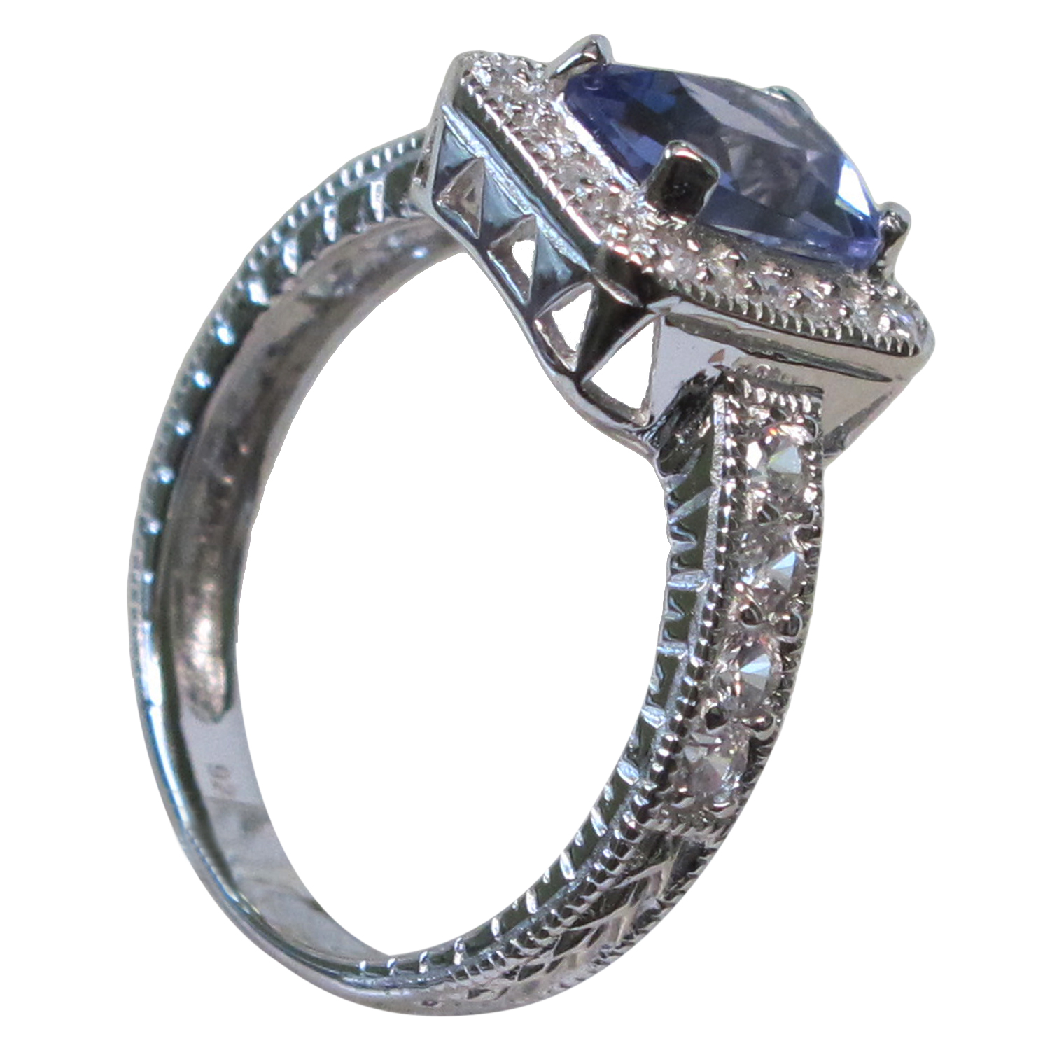 TRENDY 1.5 CT AQUAMARINE 925 STERLING SILVER RING SIZE 5-10