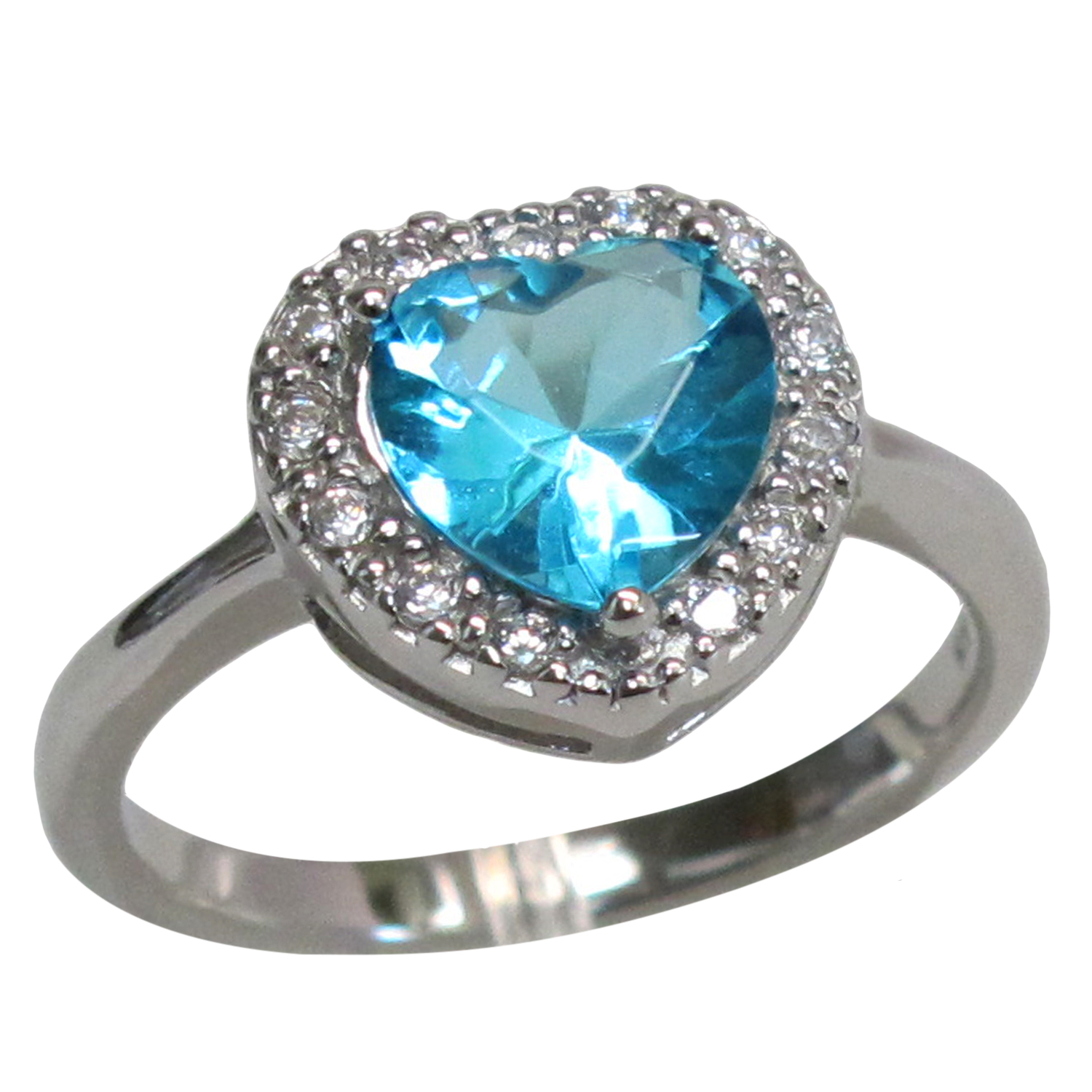 GORGEOUS 2 CT BLUE TOPAZ 925 STERLING SILVER RING SIZE 5-10