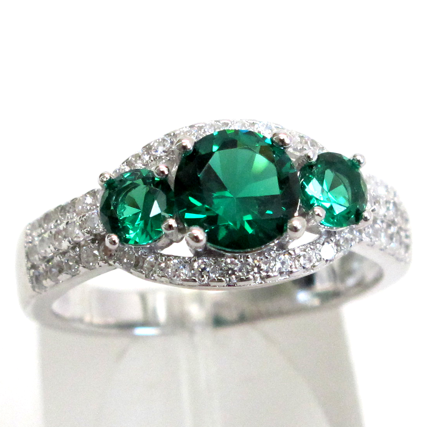 AWESOME 4 CT THREE STONE EMERALD 925 STERLING SILVER RING SIZE 5-10