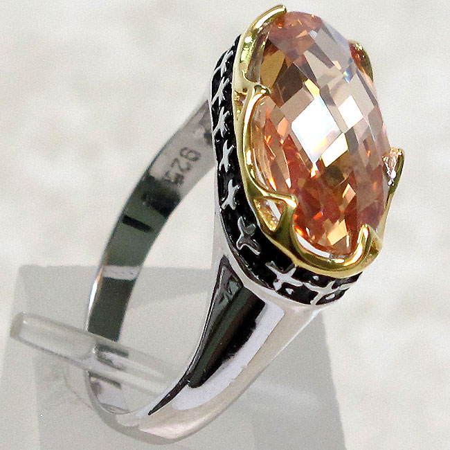 SPECIAL SALE BIN $14.99 CHAMPAGNE COLOR STONE 925 STERLING SILVER RING SIZE 8
