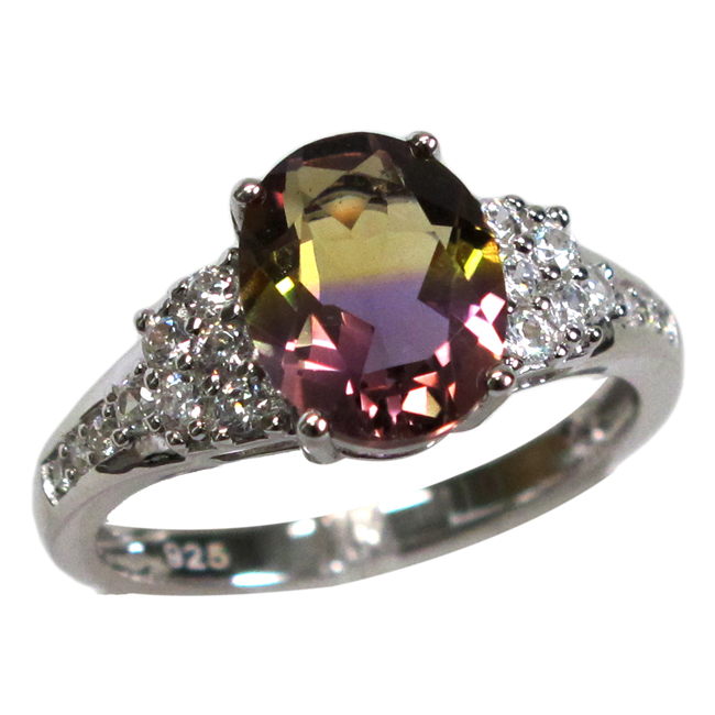 GORGEOUS 3 CT OVAL CUT AMETRINE 925 STERLING SILVER RING SIZE 5-10