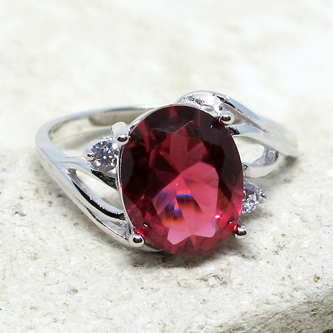 OUTSTANDING 2 CT OVAL PINK 925 STERLING SILVER RING SIZE 5-10
