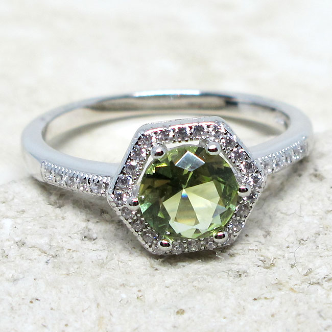 UNIQUE 1 CT ROUND PERIDOT GREEN 925 STERLING SILVER RING SIZE 5-10