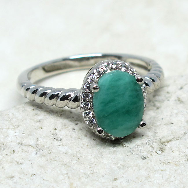 DELIGHTFUL 1.5 CT GENUINE AFRICAN EMERALD 925 STERLING SILVER RING SIZE 5-10