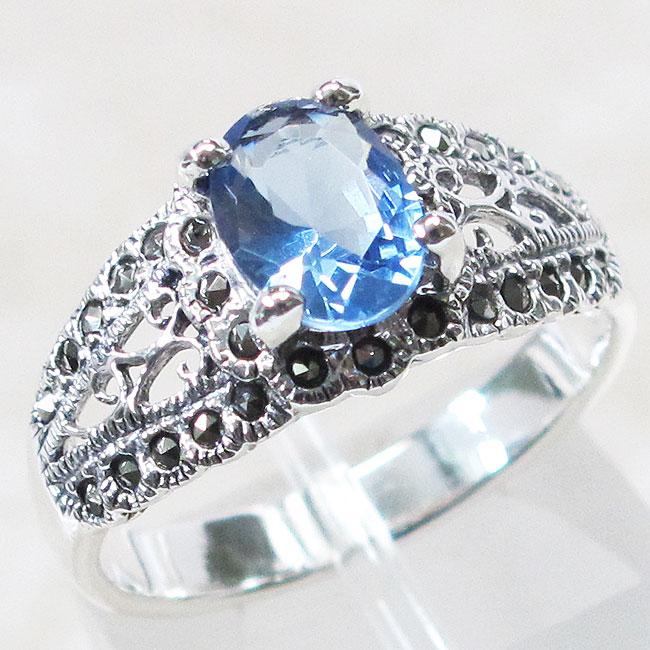 GORGEOUS MARCASITE 1 CT SAPPHIRE 925 STERLING SILVER RING SIZE 5-10