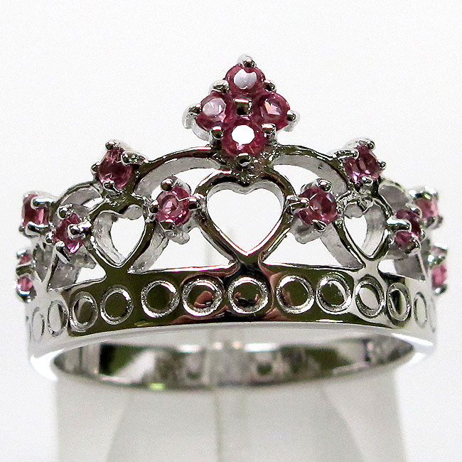 magnificent pink royal crown 925 sterling silver ring size